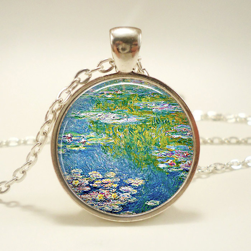 Family Decor Retro Style Handmade Old Celestial Map Pendant Necklace Cabochon Glass Vintage Bronze Chain Necklace Jewelry Handmade