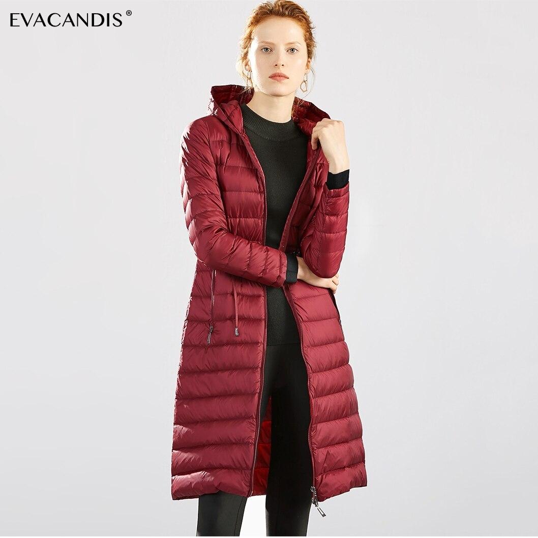 Long Hooded   Down     Coat   Women Jacket Light Portable White Duck   Down   Korean Snow Warm Windproof Zipper Tunic Plus Size Winter 2018
