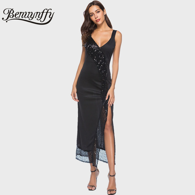 Benuynffy Sexy Deep V Neck Black Sequin Dress Long Women Party Dress
