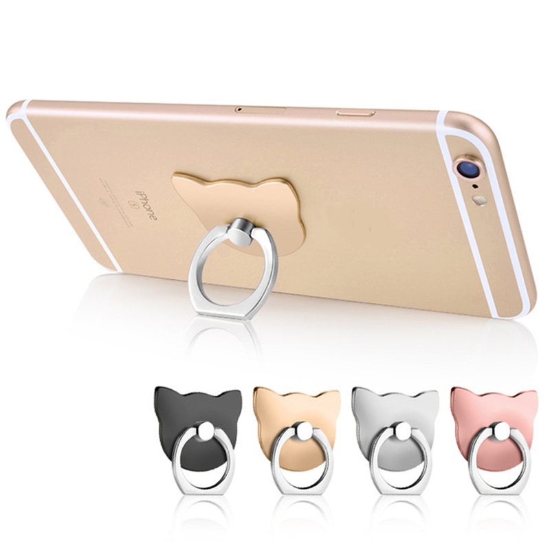 Galleria fotografica Universal Cartoon 360 Degree Finger Ring Mobile Phone Smartphone Stand Holder For iPhone X 8 7 6 Bear/Cat Head Ring Hook Bracket