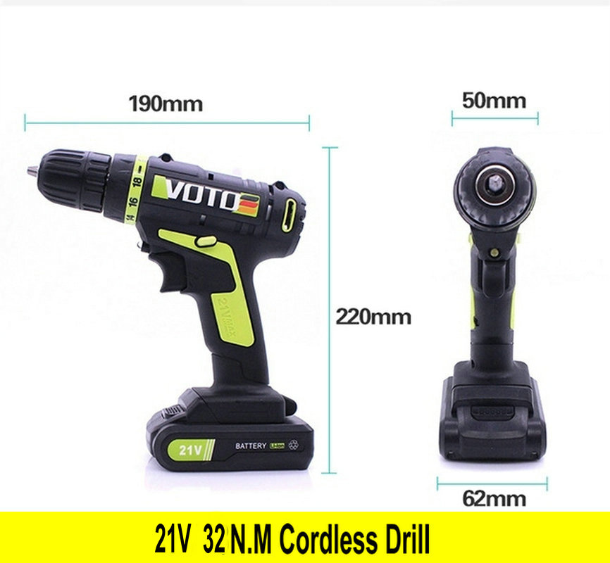 VOTO 21V DC New Design Household Lithium Ion Battery Cordless Drill Driver-Power Tools Electric Drill Power Drill free shipping 48v 15ah battery pack lithium ion motor bike electric 48v scooters with 30a bms 2a charger