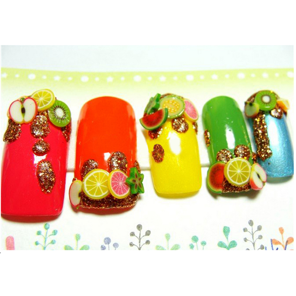 12 Bottles/Lo Stylish Acrylic Flower Fruit Design Nail Art Decorations Mixed Color 3D DIY Manicure Nail Tips Decoration