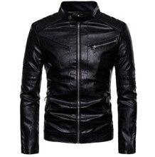 цена Motorcycle Jacket Men Vintage Retro Casual PU Leather Jacket Punk Windproof Biker Motorcycle Moto Jacket онлайн в 2017 году