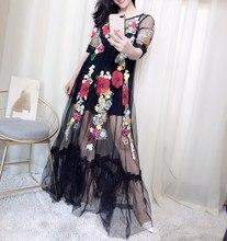 Fashion 2019 Summer Elegant Flower Embroidery Dress Appliques Black Mesh Slim Women Vintage Long Maxi
