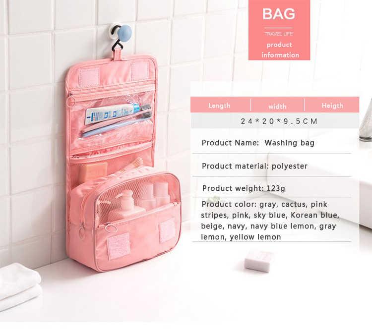 QIAQU ホットトイレタリーバッグポータブルトラベルオーガナイザー化粧品メイクアップバッグケースハンギングフックと女性のための休暇