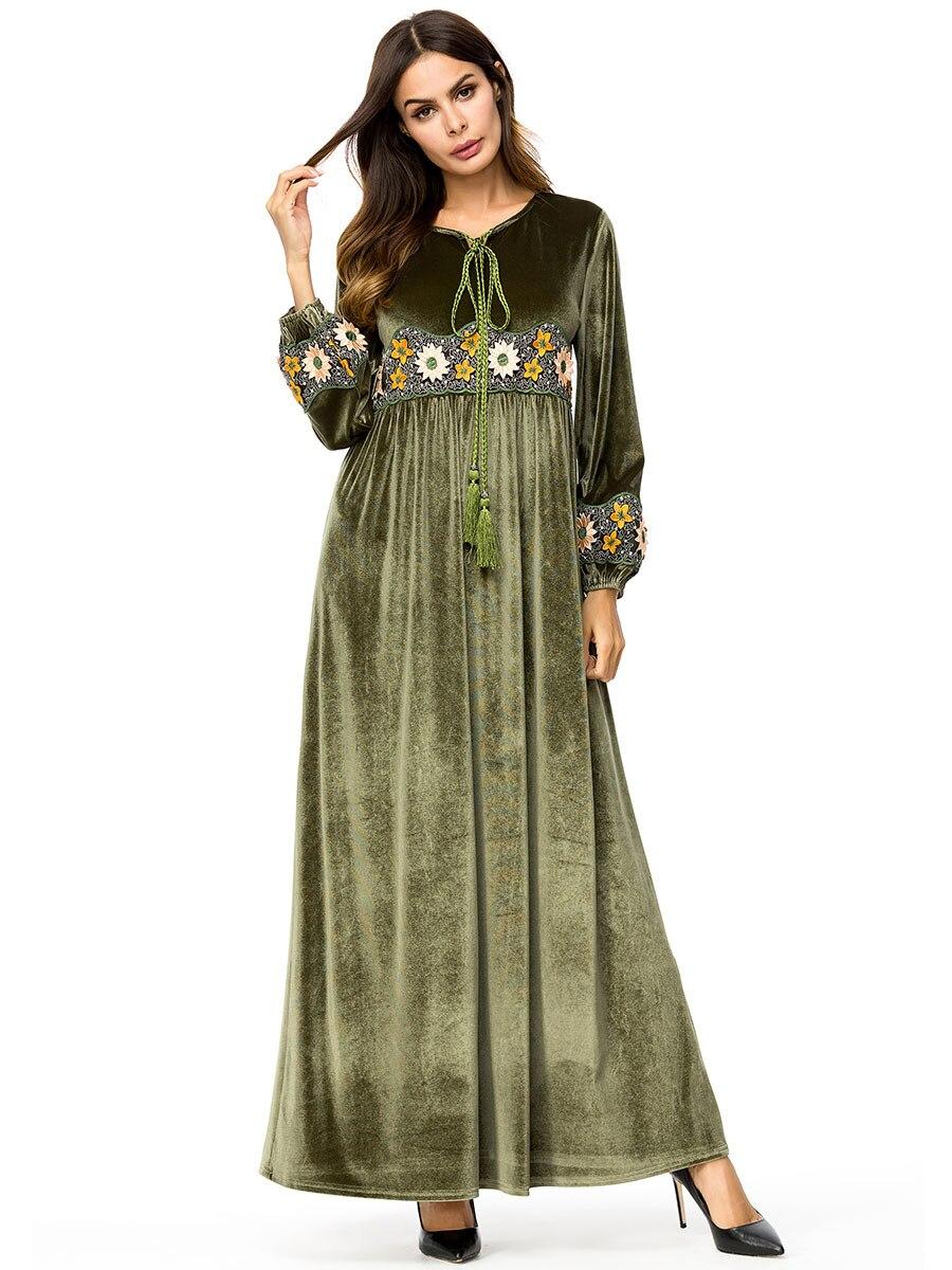 8b58bb40d59ba HOT SALE] Abaya Gowns Muslim Women Elegant Velvet Warm Embroidery ...