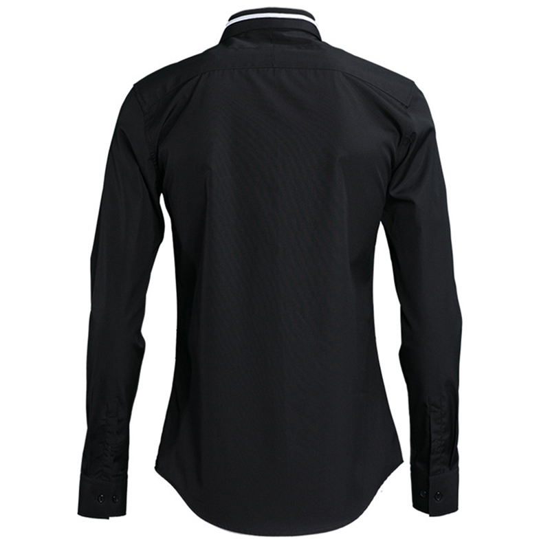 2018 neue Kragen Stickerei Eine Parallel Bar männer Shirts Feine Verarbeitung Solide Farbe Europa und Amerika Slim Fit Voll hülse - 6