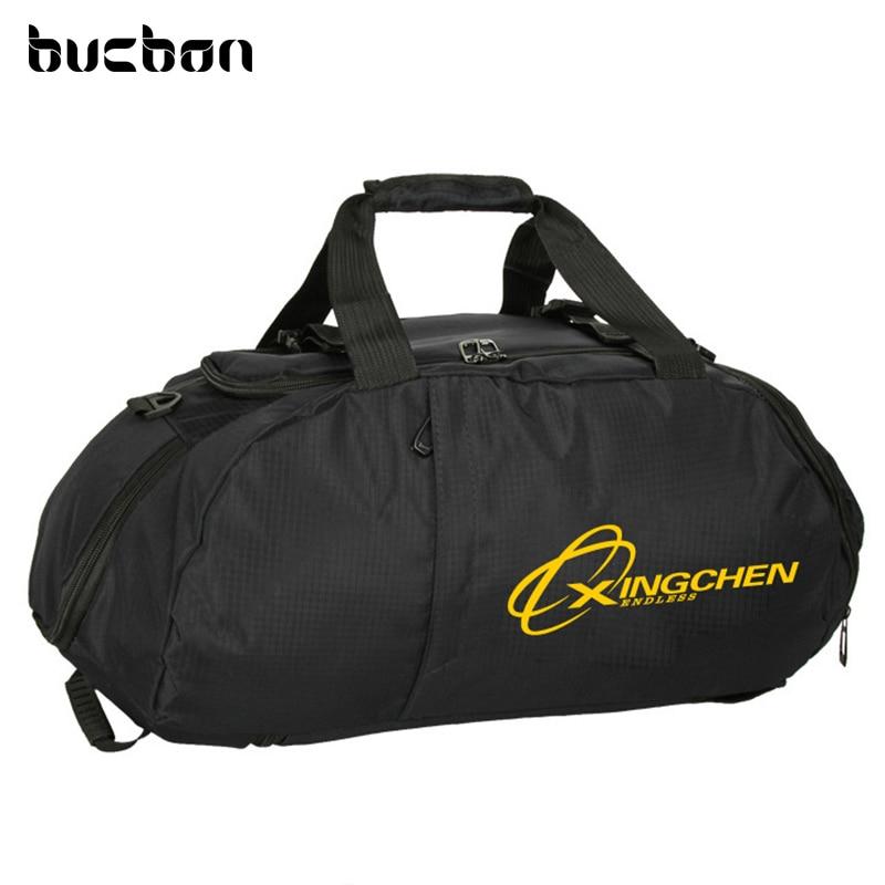 Bucbon שלוש השתמש ספורט תיק נייד כתף תרמיל נעליים אחסון גברים נשים אימון כושר כושר תיק נסיעות Bagpack HAB071
