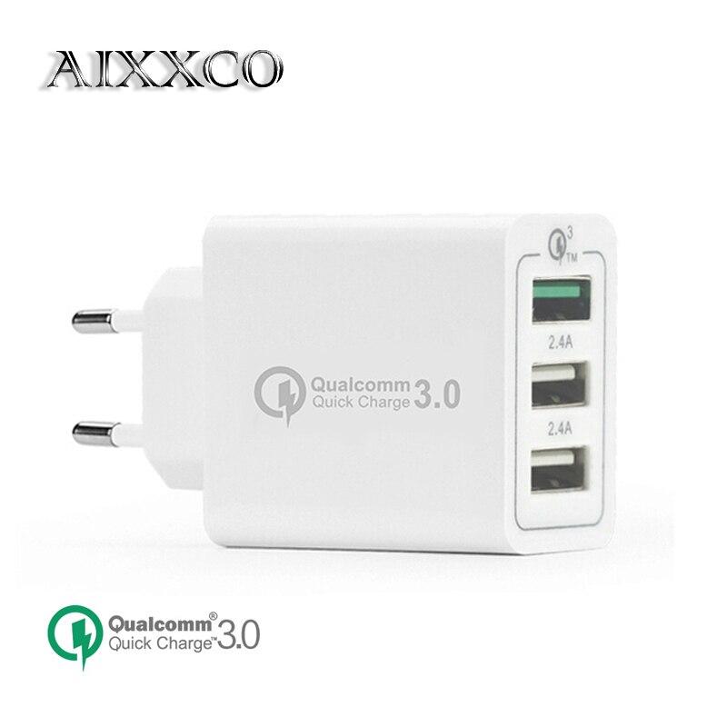 AIXXCO 3 Ports Schnellladegerät QC 3,0 30 Watt Usb-ladegerät Für iphone 7 8 ipad Samsung S8 Huawei Xiaomi Schnelle Ladegerät QC3.0 EU/Us-stecker