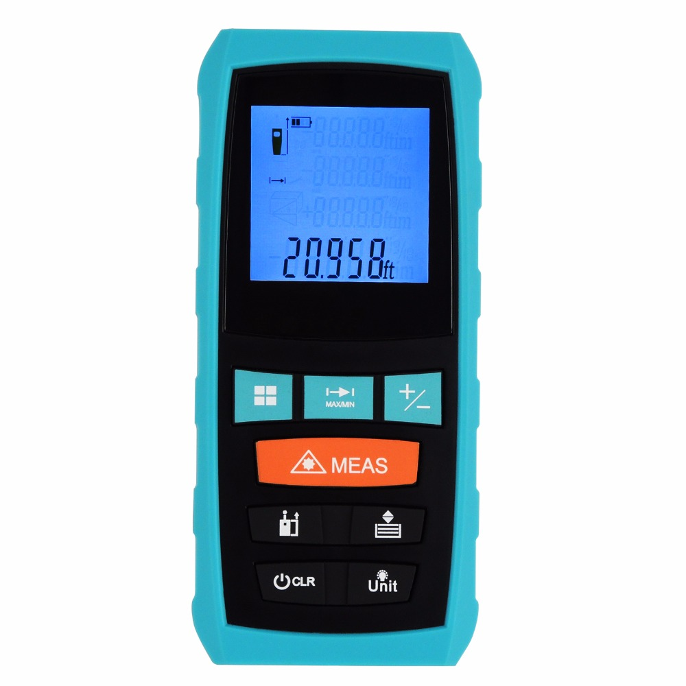 Digital Laser Meter Measure Area Volume Pythagoras 60M/197ft Range Finder +/-1.5mm Accuracy Feet Inches Units Tester Tool laser range finder 40m 60m 80m 100m digital laser distance meter tape area volume angle engineer measure construction tools
