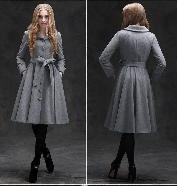 418cdd40315a7 Online Shop 10- winter women vintage 50s Audrey Hepburn gray wool ...