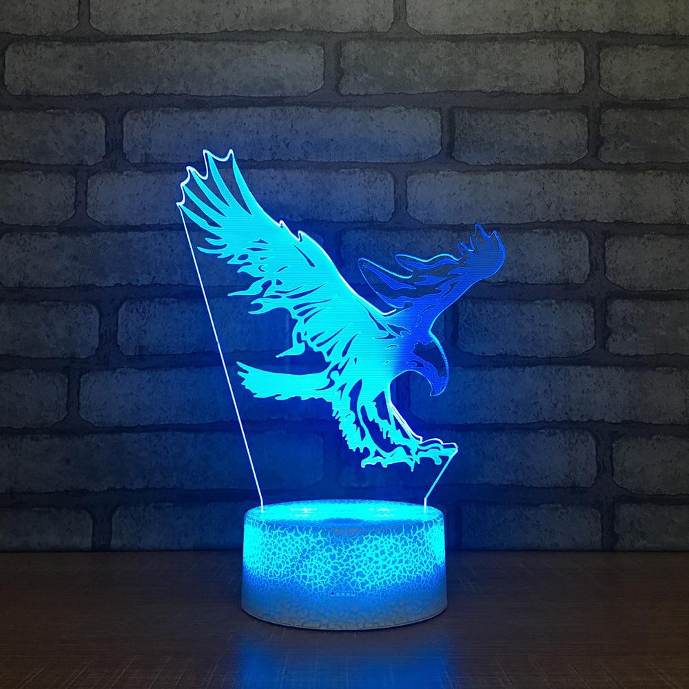 3D Cartoon Flying Eagle LED RGB Night Light 7 Color Change Desk Light Action Figures 264 Boys Girls Christmas Toys