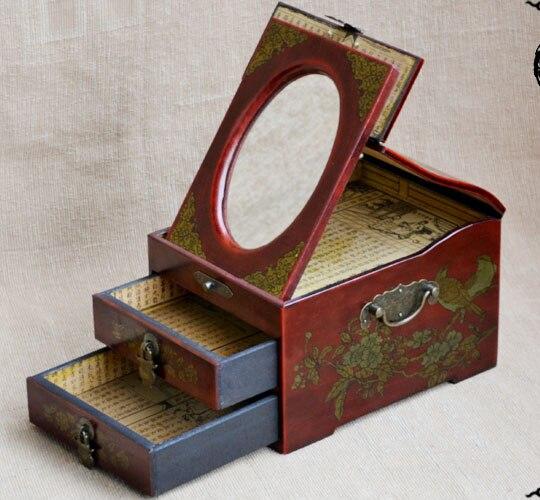 Offre spéciale-2019 cadeau Unique de noël meilleur cadeau rétro antique vintage rouge bois bijoux boîte cosmétique miroir boîte