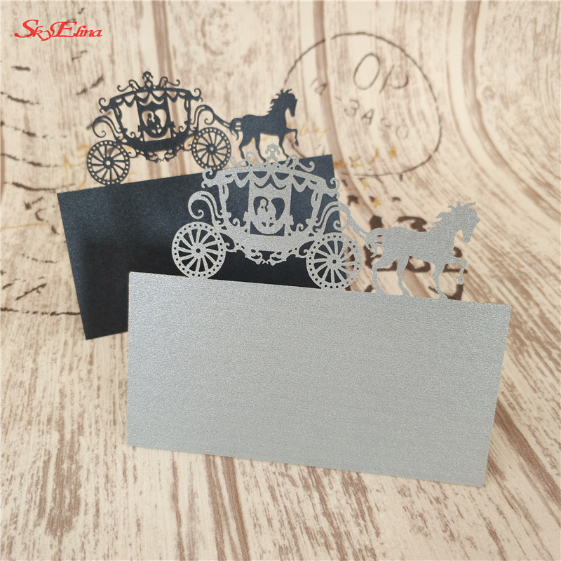 Wedding Name Cards.Us 1 4 37 Off 10pcs Lot Carriage Shape Seat Cards Laser Cut Wedding Name Cards Place Name Cardswedding Invitations Party Supplies 6z Sh868 In Cards