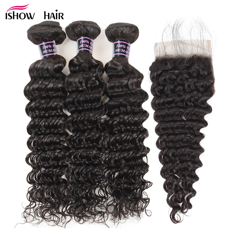 Ishow Malaysian Deep Wave Human Hair Bundles with Closure Baby Hair Free Part Non Remy Hair Extensions 3 Bundles With Closure