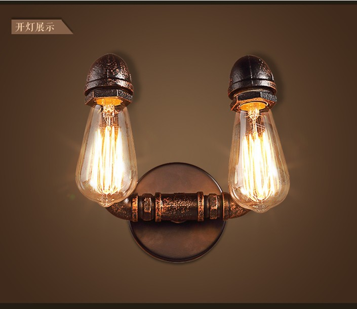 Nordic Loft Industrial 2 Heads Water Pipe Lamp Vintage Wall Light For Home Antique Deco Bedside Wall Lamp Sconce Indoor Light литой диск replica legeartis concept mb507 8x18 5x112 d66 6 et41 mgmf