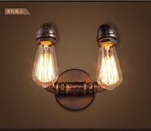 Nordic Loft Industrial 2 Heads Water Pipe Lamp Vintage Wall Light For Home Antique Deco Bedside Wall Lamp Sconce Indoor Light loft style water pipe lamp industrial edison wall sconce antique vintage wall light fixtures for home lighting lampara