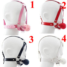 Fetish Restraint Bondage Mouth Mask BDSM Head Harness Toys,Leather Open Mouth Ball Gag,Sex Toys For Couple(China)