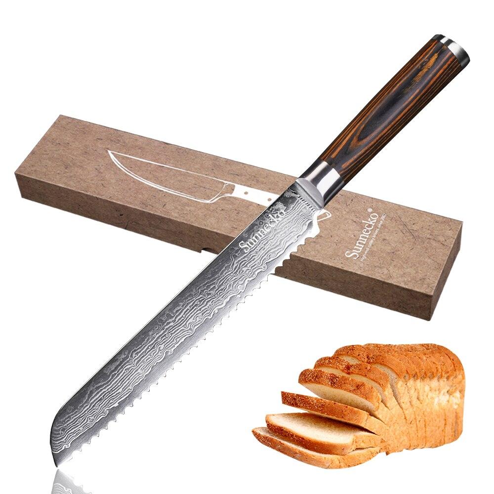 SUNNECKO di Alta Qualità 8 pollice coltello da Pane 73 Strati di Damasco Lama In Acciaio Sharp coltelli da cucina Manico In Legno pakka Della Torta Della Taglierina coltello