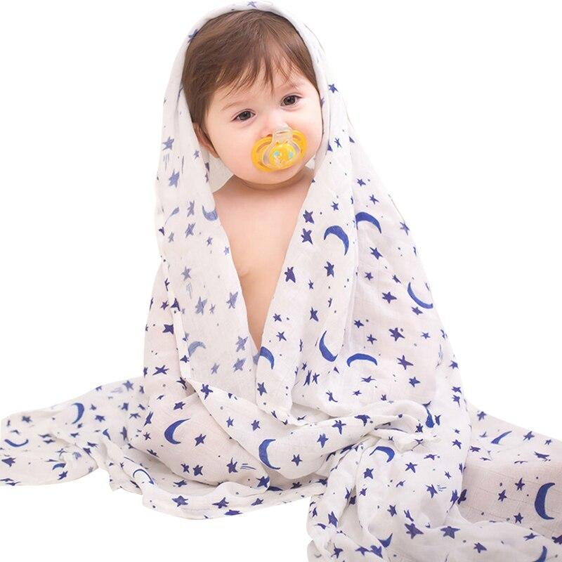 Bamboo Baby Blanket Cartoon Soft 70% Bamboo 30% Cotton Infant Printed Wrap Blankets Newborn Swaddle Rainbow Muslin Blanket