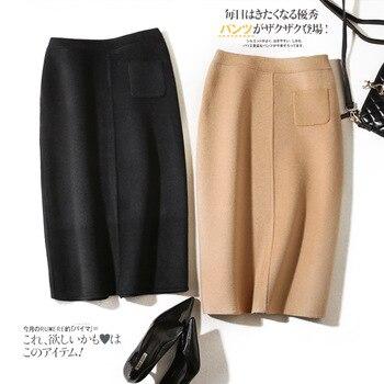 Shuchan New Arrival For Women High Quality Fashion Designer 2018 Skirt Saia 90% Wool Office Lady Pockets Korean