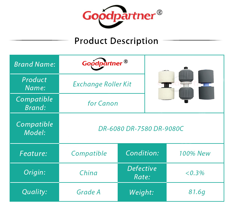 Printer Spare Parts for Yunton /8927A004AA Retard Pickup Exchange Roller Kit for Canon DR-6080 DR-7580 DR-9080C