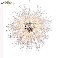 North design simple Clear K9 Crystal Modern Creative Dandelion LED Pendant Light for Dining master Room Restaurant Living room