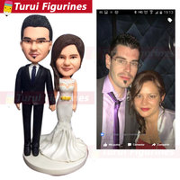 Personalized Wedding Cake Topper Monogram Last Name Surname Decoration Anniversary Gift custom bobblehead figurines for couple