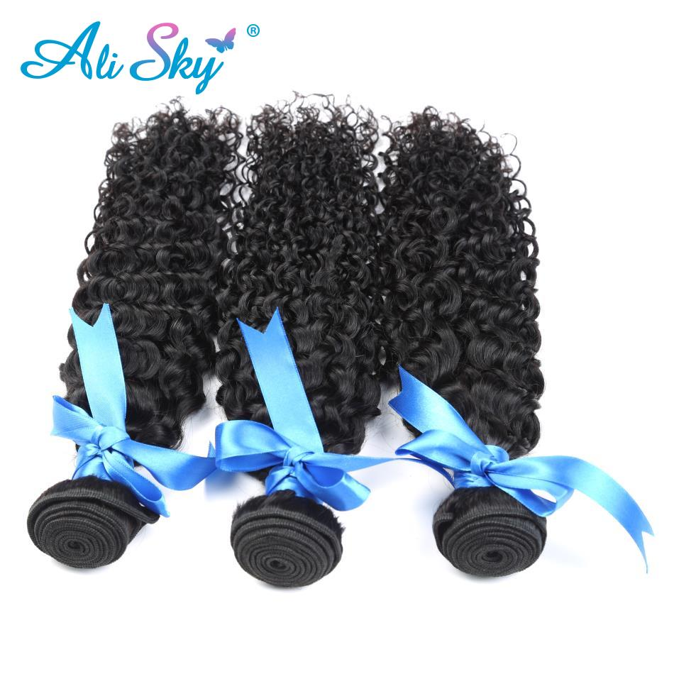 Free shipping Ali Sky peruvian Non-remy Hair Kinky Curly Hair 3 Bundles Weave 100% human hair Extensions No Tangle no shedding