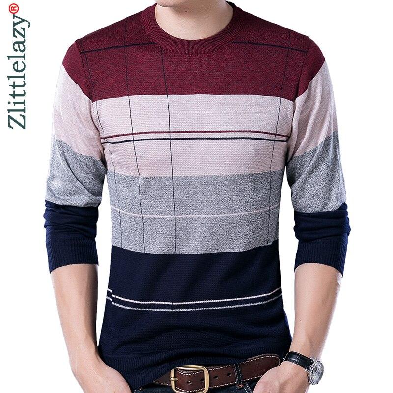 2018 marca social delgada de algodón de los hombres suéteres jersey de punto a rayas de punto hombres suéter masculino jersey ropa 5066
