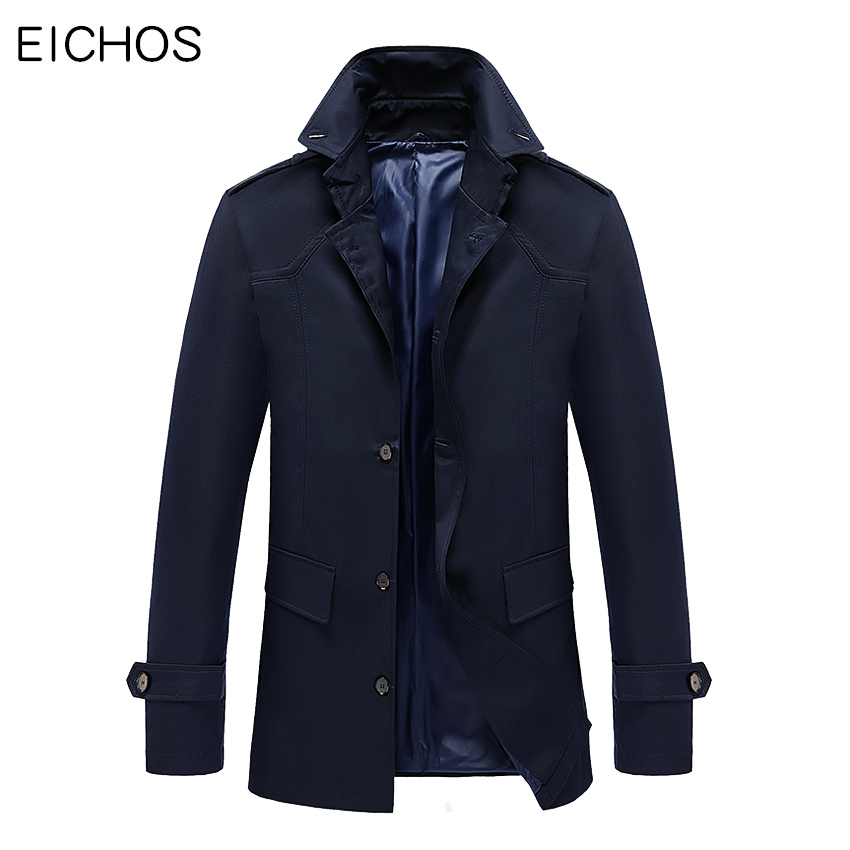 EICHOS Mens Slim   Trench   Coat Solid Color Outerwear Spring Autumn Windbreaker Jacket Male Business Casual   Trench   Overcoat Men