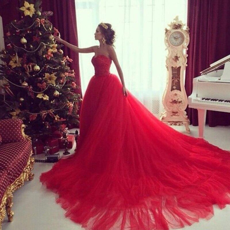 Vestido de fiesta vestido de bola de lujo de novia sin mangas apliques red dress