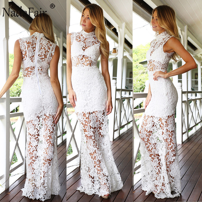 Nadafair sleeveless lace hollow out trumpet sexy bodycon dress women  turtleneck solid mermaid party dress female 4b4dde353b05