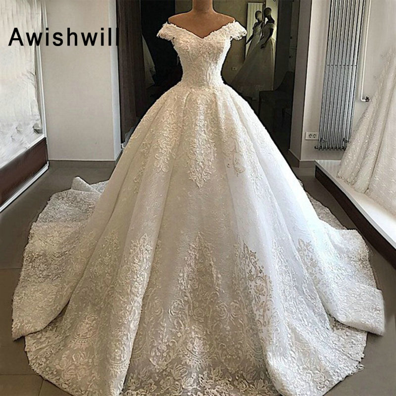 Custom Made Princess Ball Gown Wedding Dress Lace V Neck Off The