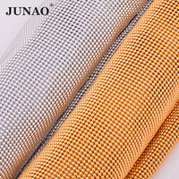 JUNAO 45x120cm Gold Silver Rhinestones Trim Mesh Crystal Ribbon Applique Aluminum Fabric Strass Banding for Jewelry Motif Crafts
