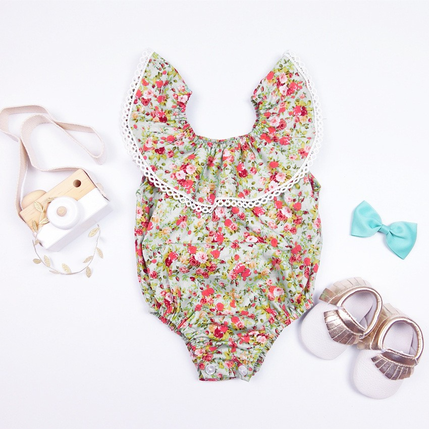 2016 summer Baby girls clothes Floral Princess baby romper baby girl clothing infant clothing newborn Triangle romper