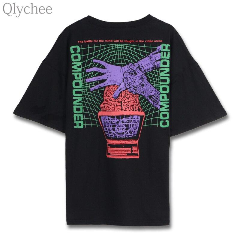 Qlychee fantasma Carta de la mano impresión T camisa de manga corta de cuello redondo básica Tops Tees mujeres verano Streetwear Unisex