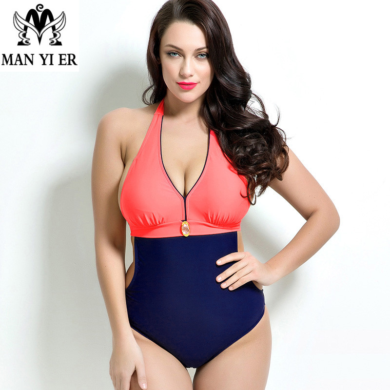 MANYIER 2016 New Women One Piece Swimwear Plus Size Bathing suit Backless Sexy maillot de bain lacing 1682 plus size scalloped backless one piece swimsuit