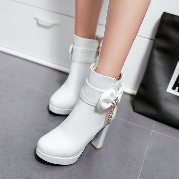 16_2016 Autumn Korean Womens Pink Dress Booties Shoes Princess Bow High Heels Black And White Platform Ankle Boots For Winter