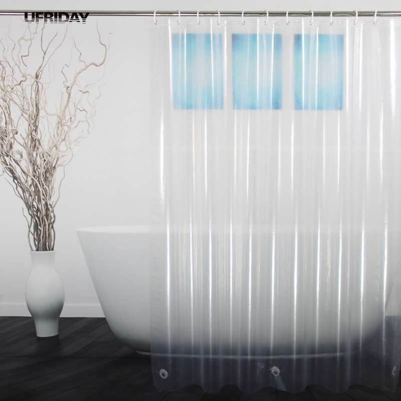 UFRIDAY PEVA Shower <font><b>Curtain</b></font> Transparent Liner with Magnets Bottom Waterproof and Mildew Resistant Crystal Clear Bathroom <font><b>Curtain</b></font>
