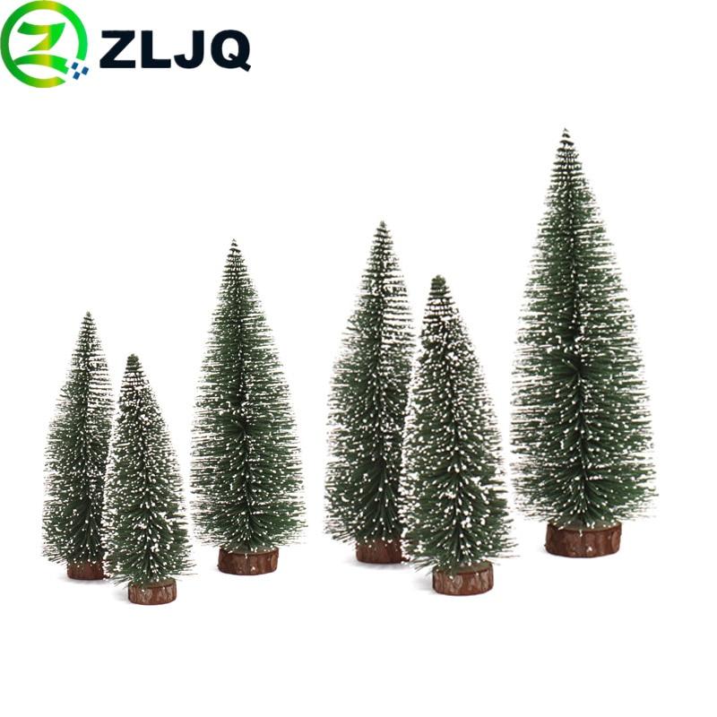 ZLJQ Mini Flocking Christmas Tree Party Decorations Xmas Tree Table Decor Supplies Holiday Favor Decoracion Navidad Gifts 7J