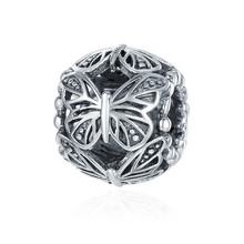 Hot Sale 100% 925 Sterling Silver Stackable Butterfly Round Charm Beads Fit Pandora Charm Bracelet DIY Jewelry Gift SCC491 недорого