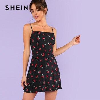 SHEIN Allover Cherry Print Cami Dress Women Spaghetti Strap Sleeveless Zipper Weekend Casual Dress 2018 Loose Short Dress