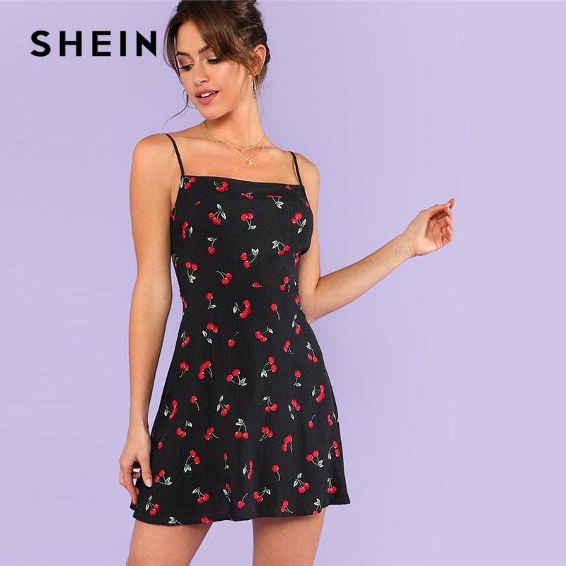 SHEIN Allover cereza imprimir Cami vestido mujeres Spaghetti correa sin mangas cremallera semana Casual vestido 2018 flojo Vestido corto