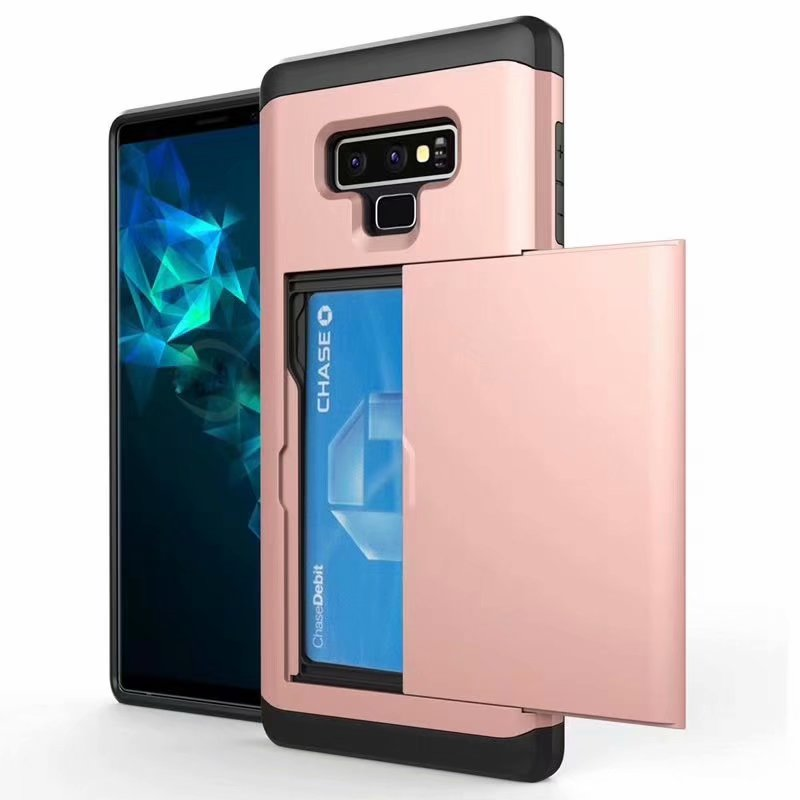 10pcs Armor Slide Case For Samsung Note 9 Cover Card Holder Phone Cases For Samsung Galaxy Note  9 Card Slot Case
