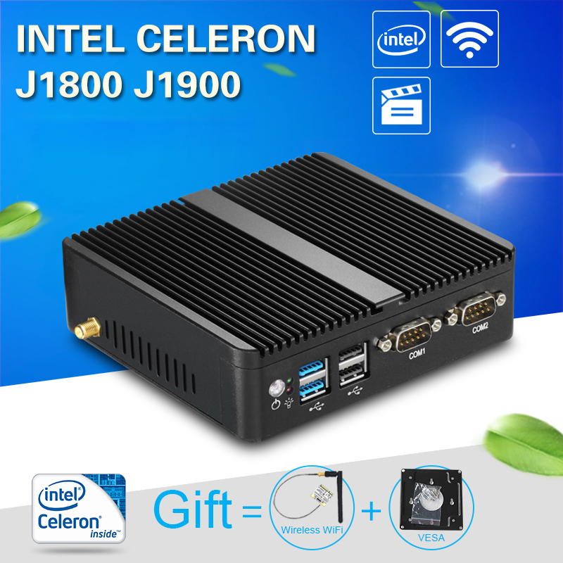 Fanless Mini PC Windows 10 4GB RAM Intel J1800 J1900 HTPC Industrial PC Nettop 2 LAN 2 RS232 HDMI VGA WiFi Compact Desktop PC merci повседневные брюки