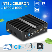 Fanless Mini PC Windows 10 4GB RAM Intel J1800 J1900 HTPC Industrial PC Nettop 2 LAN 2 RS232 HDMI VGA WiFi Compact Desktop PC