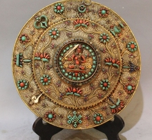 13 «Тибет Буддизм Храм Чистого Серебра Золота Драгоценный Камень Коралл 8 сокровище Манджушри Tangka