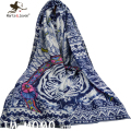 [Marte&Joven] Ethnic Style Tiger Scarfs Fashion Women Personalized Retro Indian Tribe Feather Long Scarves