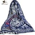 [Marte y Joven] Estilo Étnico Bufandas Tigre Mujeres de La Moda Personalizada Retro Tribu India de Plumas Largas Bufandas